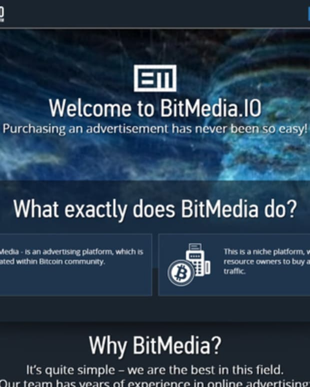 Op-ed - Bitcoin Advertising Platform BitMedia.IO Receives $100 000 Investment Offering Professional Bitcoin And Cryptocurrency Ad Options
