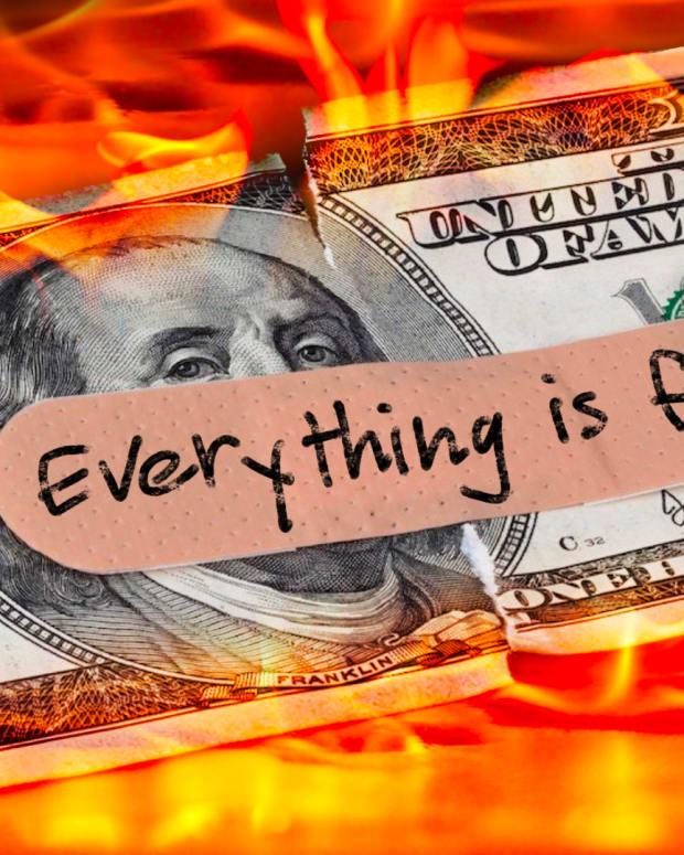 Dollar bill, $100, burning