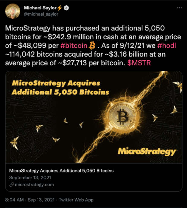 Michael Saylor's MicroStrategy Buys 5,050 More Bitcoin As Total Investment Exceeds $3.1 Billion