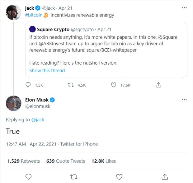 musk dorsey discuss bitcoin
