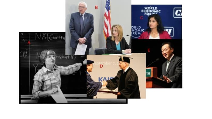 A. Janet Yellen spent decades in academia and became Federal Reserve chair and U.S. Secretary of the Treasury. B. Stefanie Kelton is a current professor at Stony Brook University whose work in Modern Monetary Theory heavily influences Democrats like Bernie Sanders. C. Gita Gopinath took leave of public service from Harvard University to be the chief economist of the International Monetary Fund. She also works for the National Bureau of Economic Research and the Federal Reserve. D. The founder and executive chairman of the World Economic Forum, Klaus Schwab had a long and distinctive academic career. E. Jim Yong Kim is the former president of Dartmouth College who went on to be the president of the World Bank.