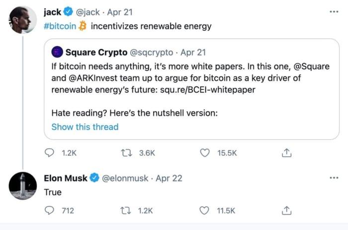 jack dorsey tweets about bitcoin renewable energy elon musk