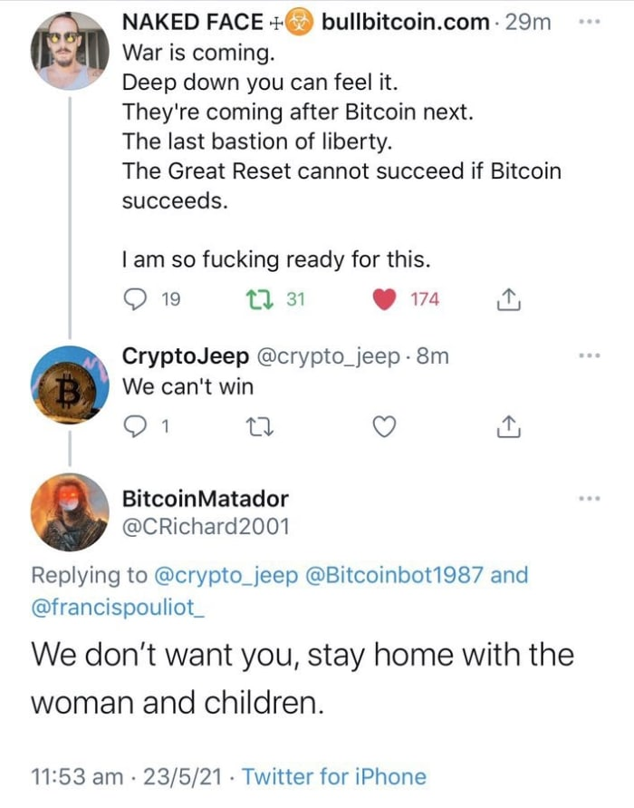 """Why bitcoin is not only the best investment of our time, and the only good """"crypto,"""" but the only moral, economic and philosophically sound place to store your wealth."""