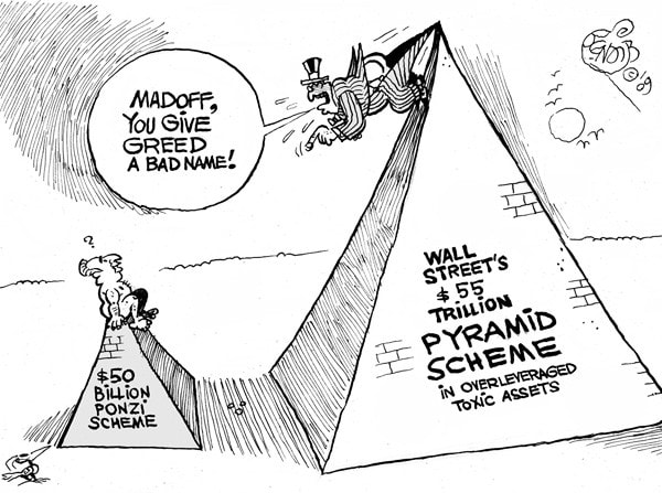 """Madoff and Pyramid Schemes"" (Source: Studio Bendib, Wednesday, January 28, 2009)"