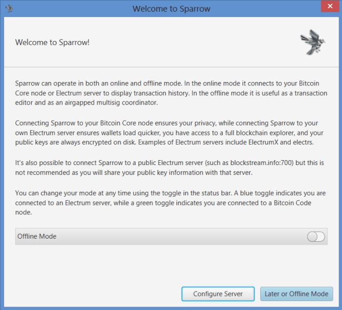 Sparrow Server offline mode