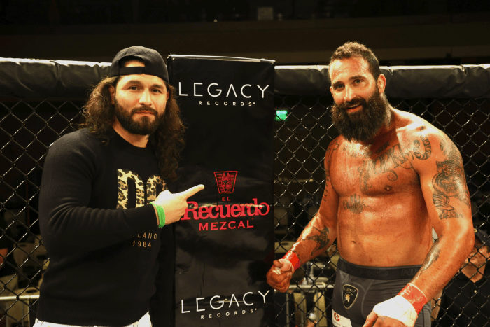 Gamebred Fighting Championship CEO Jorge Masvidal inside Legacy Records sponsored cage