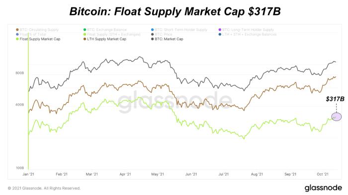 Bitcoin är på den lägsta nivån av flottörförsörjning under de senaste fyra åren, sedan priset ökat 21 gånger på bara 12 månader.