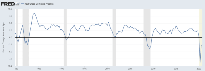 Year-over-year % change in real Gross Domestic Product, 1981–2021