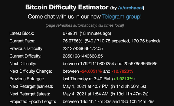 Difficulty adjustment live calculator by https://diff.cryptothis.com/