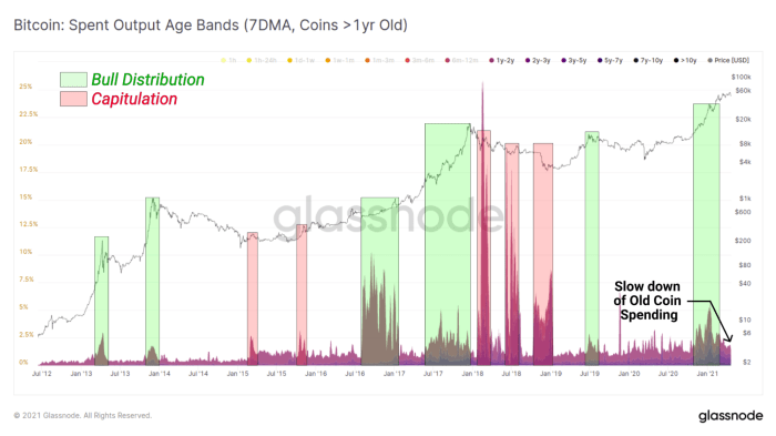 Glassnode bitcoin spent output age bands