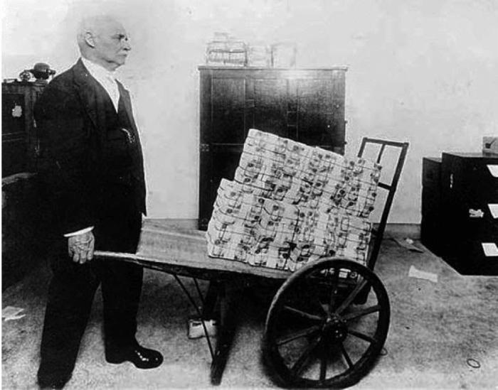 inflation money wheelbarrow old time