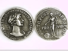 Roman denarius coins, 117 AD