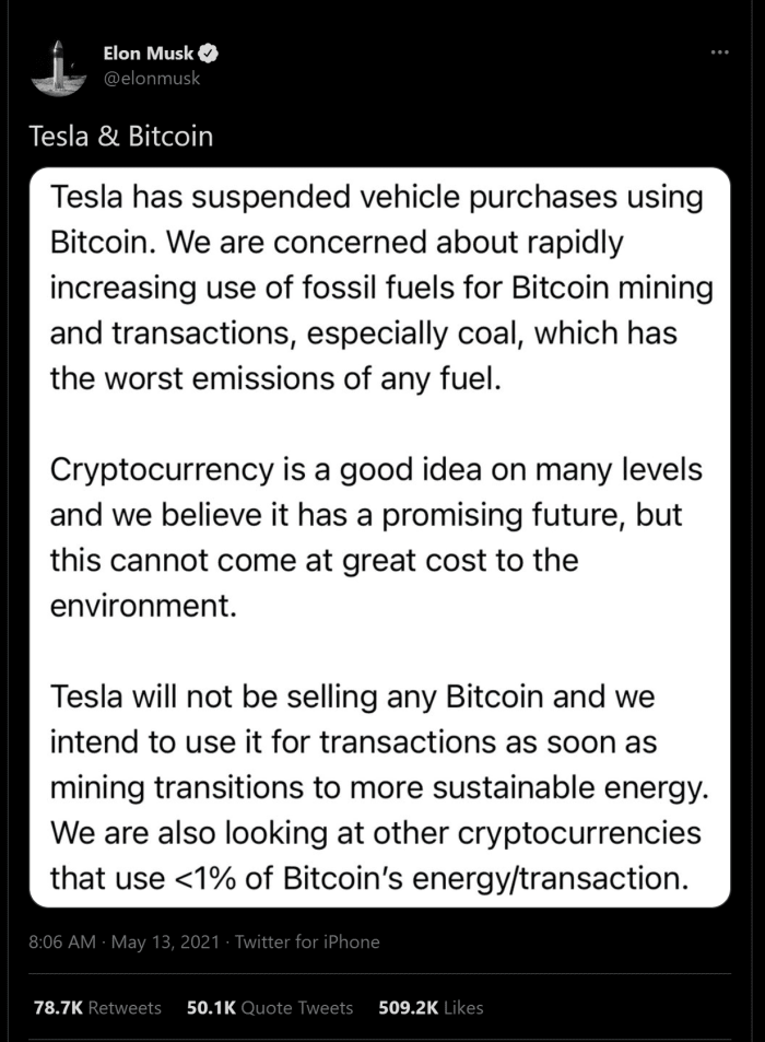 In a recent tweet explaining why Tesla is no longer accepting Bitcoin, Elon Musk expressed a poor understanding of Bitcoin's energy consumption.