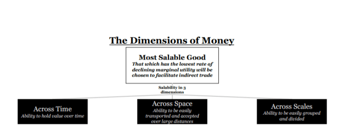 the dimensiosn of money most salable good