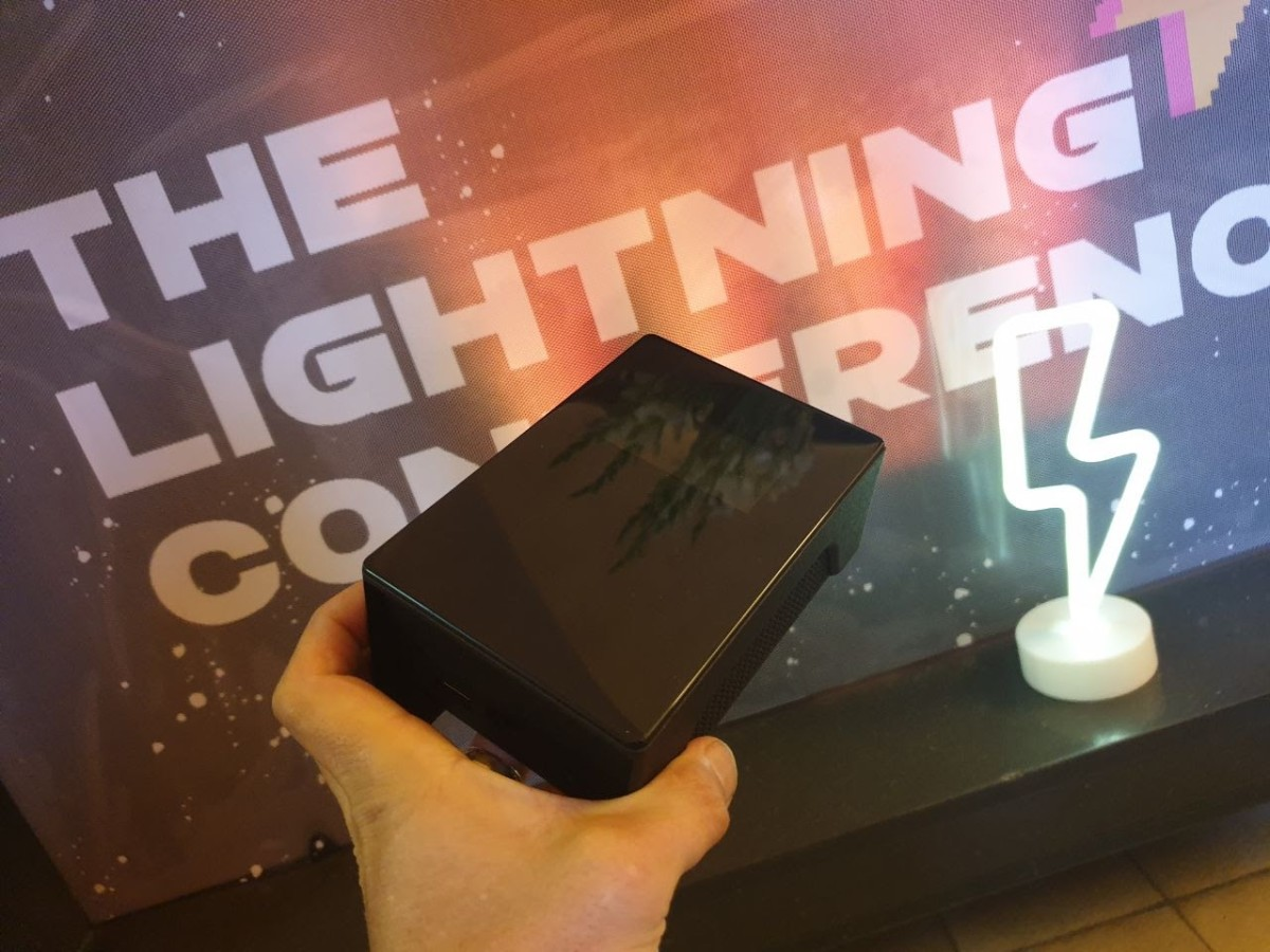 The BitBoxBase (or The Base) was presented as a prototype at The Lightning Conference in Berlin. Source: Twitter