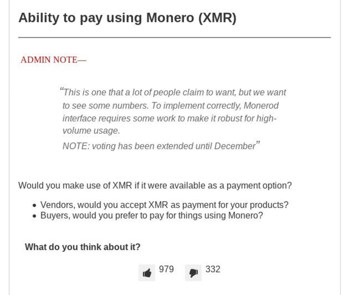 Darknet Markets Ability to pay using Monero