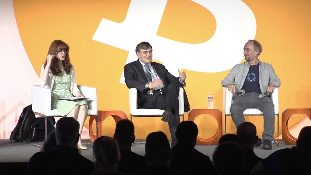 Naomi Brockwell, Scott Stornetta and Adam Back at Bitcoin 2019