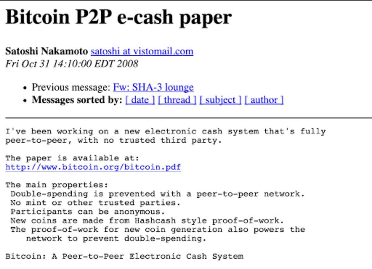 Bitcoin P2P E-Cash Paper Mailing List