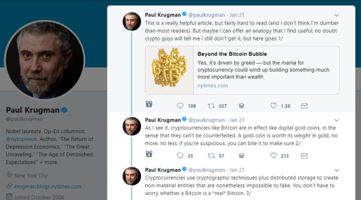 Op-ed - Op Ed: Here's What Paul Krugman Got Wrong in His Bitcoin Tweetstorm