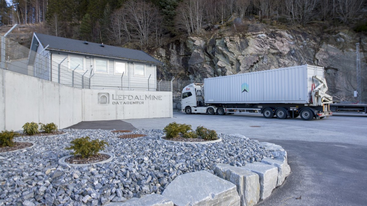 Lefdal Mine Data Center, featured with a Northern Bitcoin shipping container