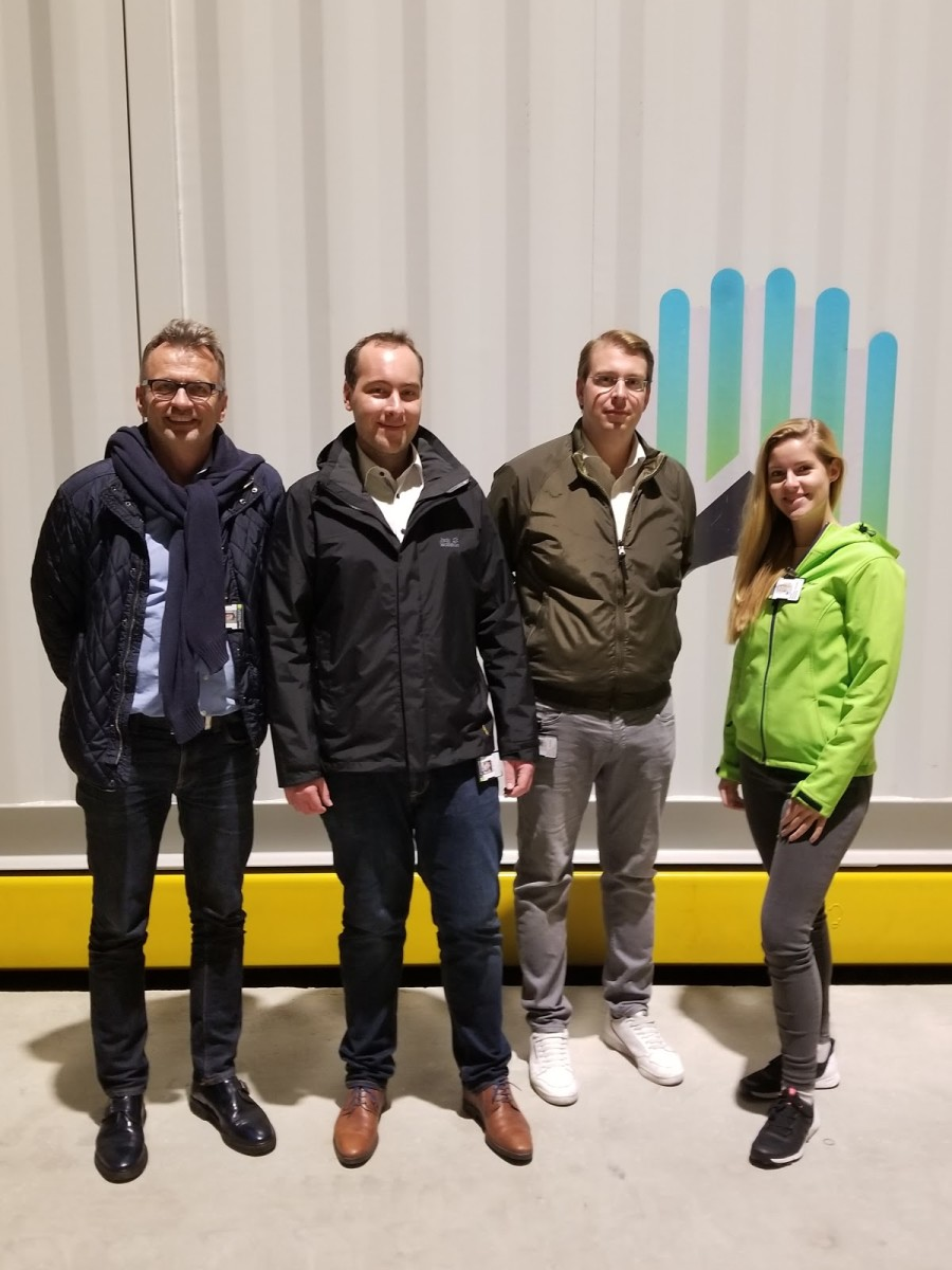 Northern Bitcoin's core team who accompanied us in Norway, standing front of a shipping container: (from left to right) Dr. Hans Joachim Dürr, Moritz Jäger, Mathis Schultz, and Marieke Garrels.
