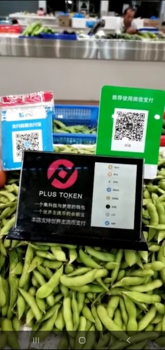 A PlusToken advertisement resting on a bed of edamame in a Chinese grocery store.