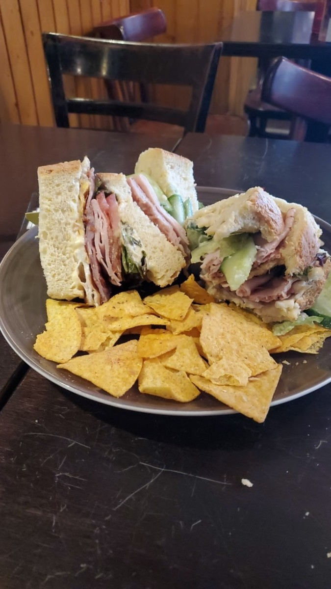 The first and only club sandwich I have ever purchased, courtesy of the Magere Brug cafe.