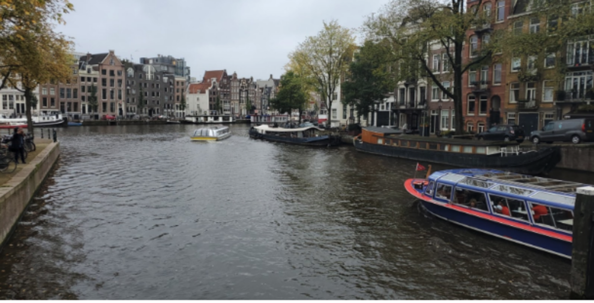 A canal in Amsterdam near the Magere Brug cafe