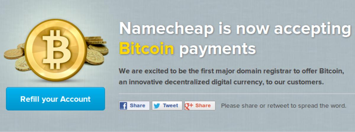 Op-ed - Namecheap Latest to Accept Bitcoin