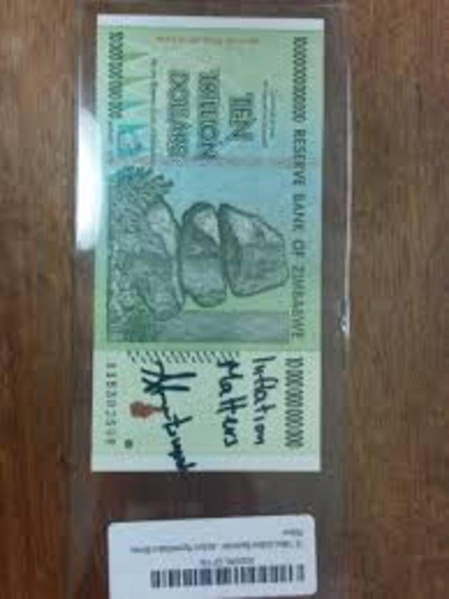 Zimbabwe $100 Trillion Dollar Note - Trillion
