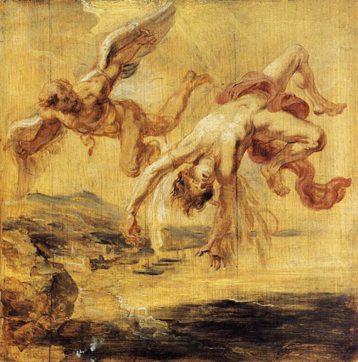 """Jacob Peter Gowy's """"The Flight of Icarus"""" (1635 to 1637)."""