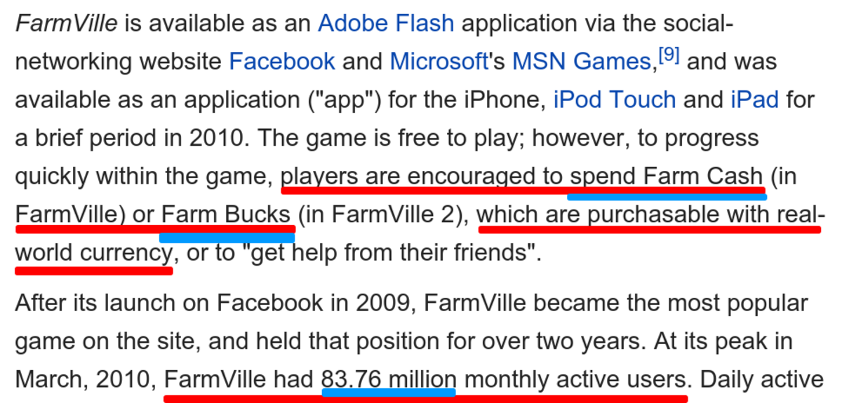 Source: Wikipedia's entry on FarmVille