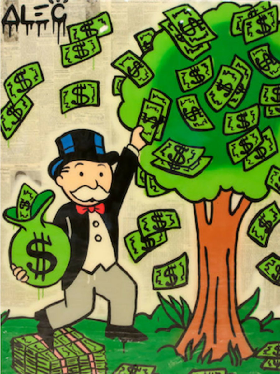 "What our monetary supply looks like nowadays. Source: Alec Monopoly , ""The Tree Of Life"""