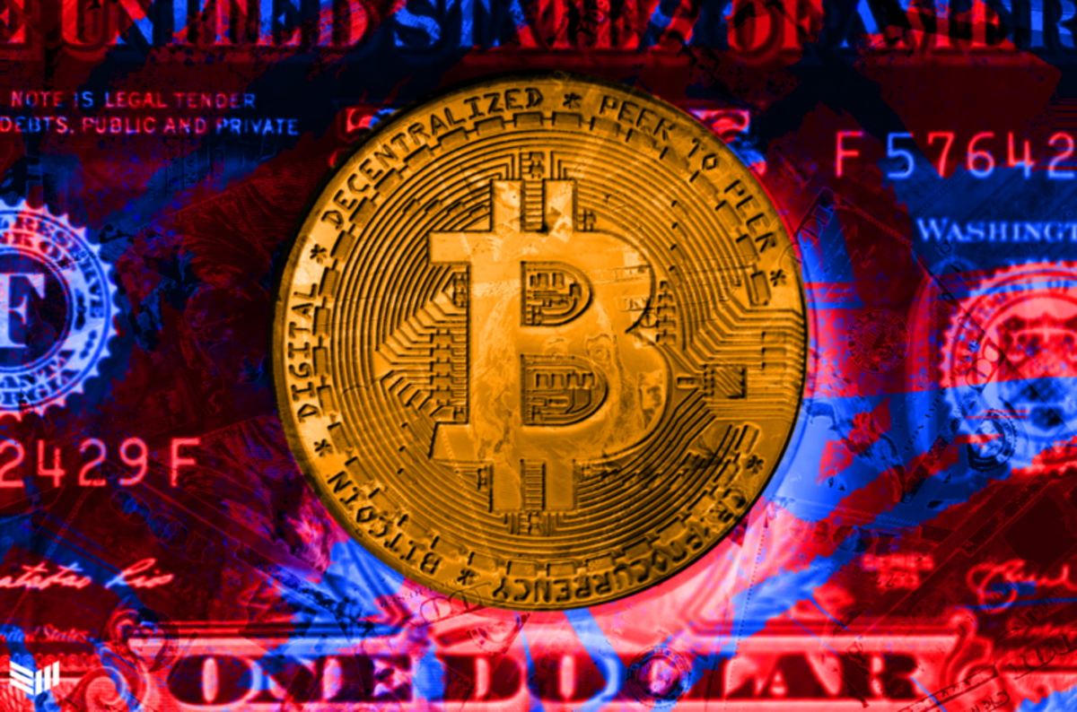 bitcoin on blue and red dollar background