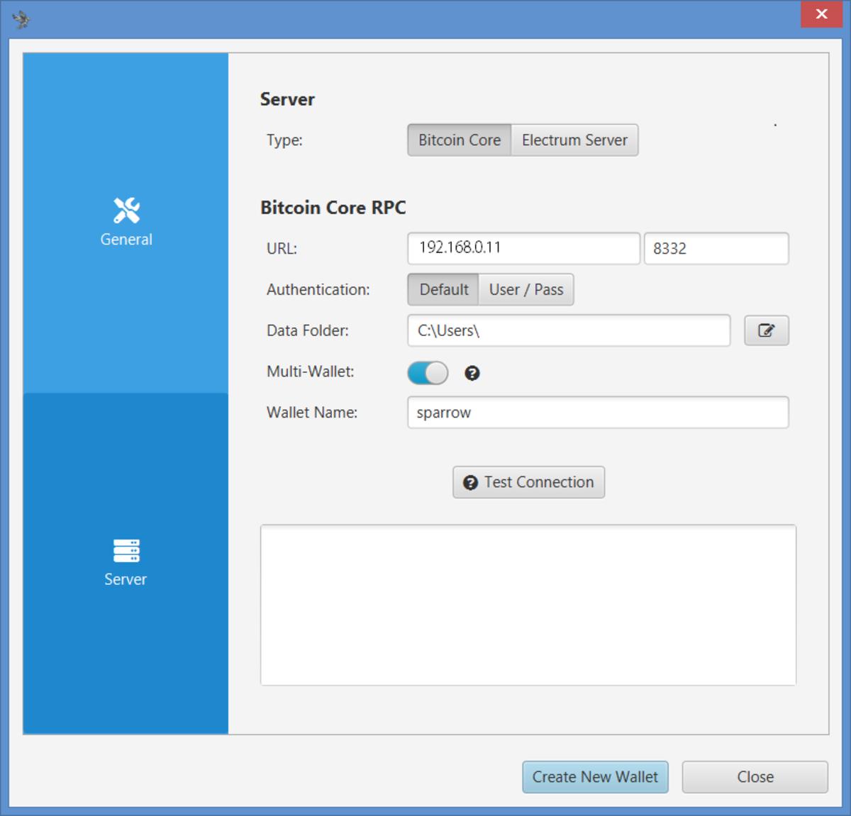 Sparrow Server settings1