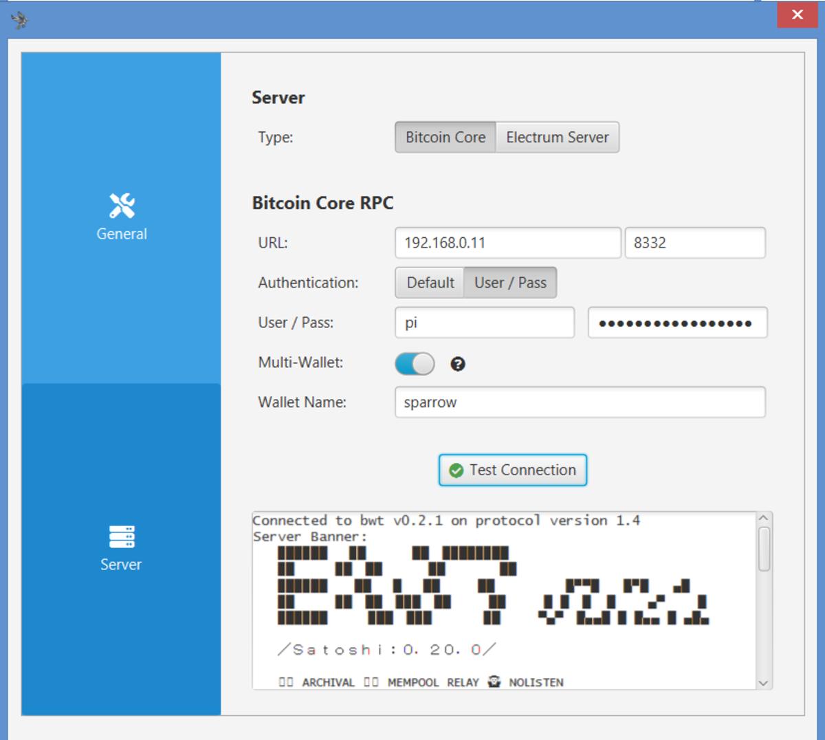 Sparrow Server configured