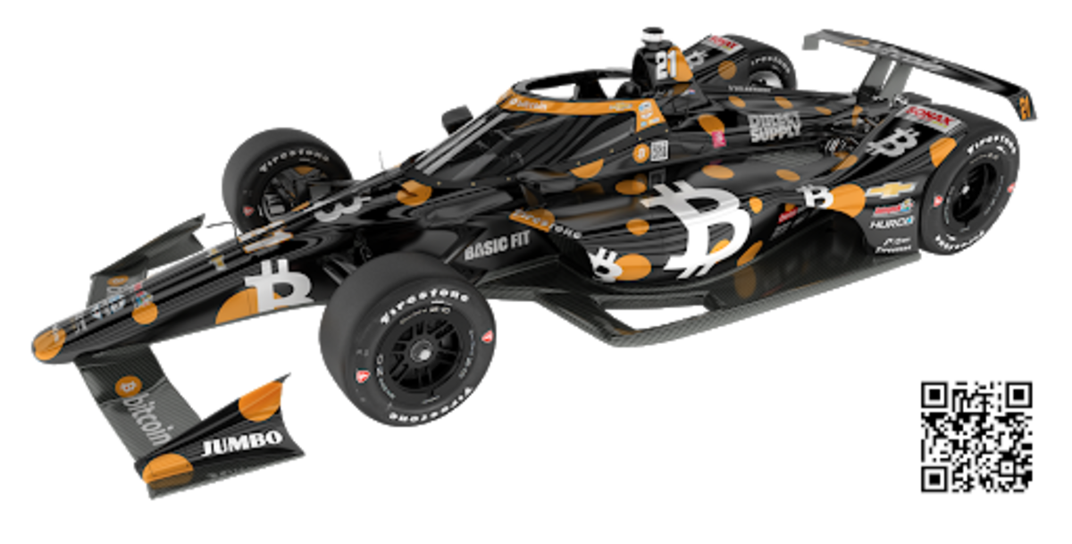 A black-and-orange, bitcoin-adorned Chevrolet will compete in this year's Indianapolis 500, with a mission to raise funds for development.