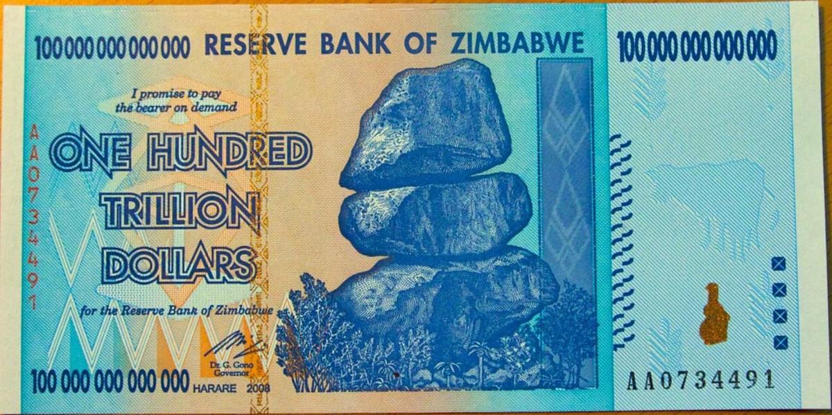zimbabwe reserve bank note one hundred trillion