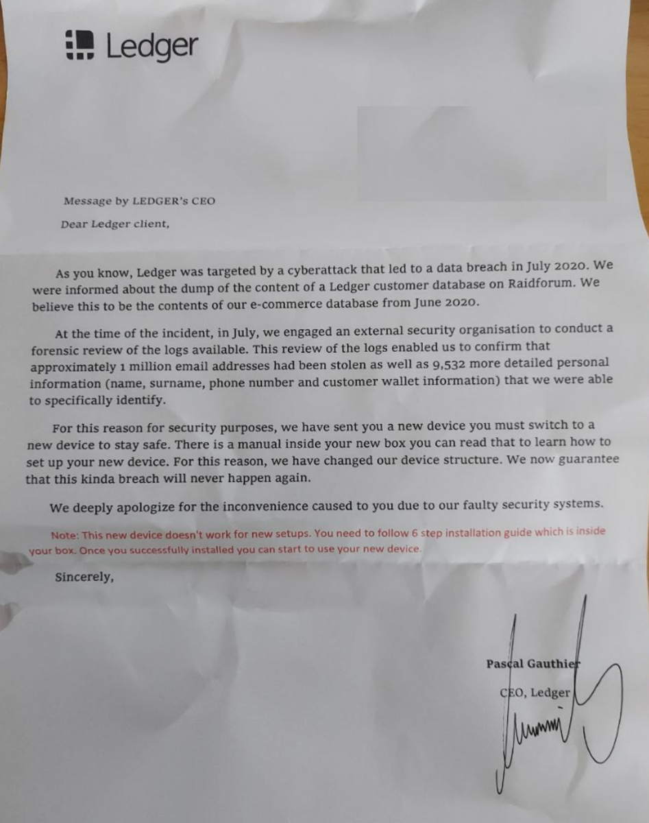 Scam letter with fake signature by Ledger CEO Pascal Gauthier. Source: Reddit.