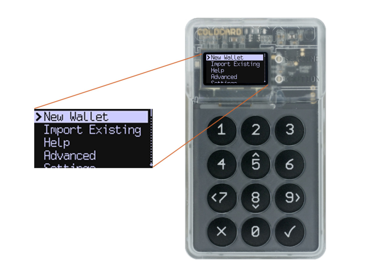 This is what it looks like to set up a bitcoin hardware wallet using a ColdCard device.