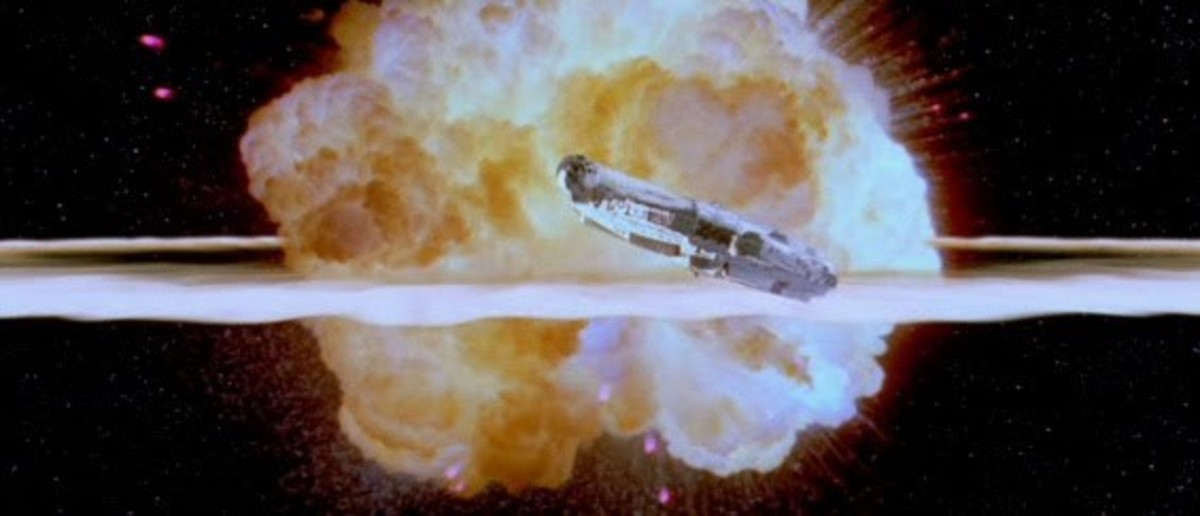 space ship blowing up running away
