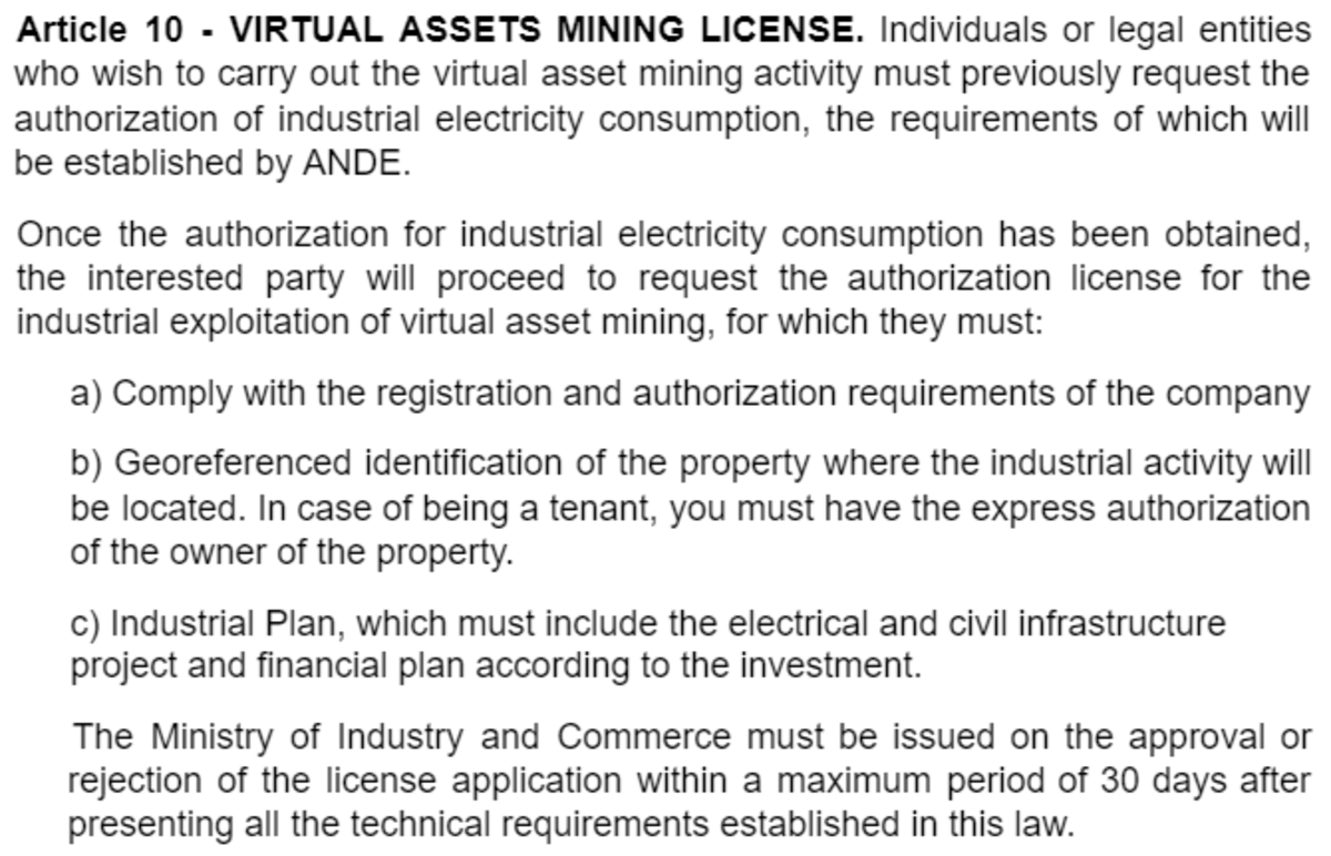 The proposed bill would require bitcoin miners to acquire a license to operate.