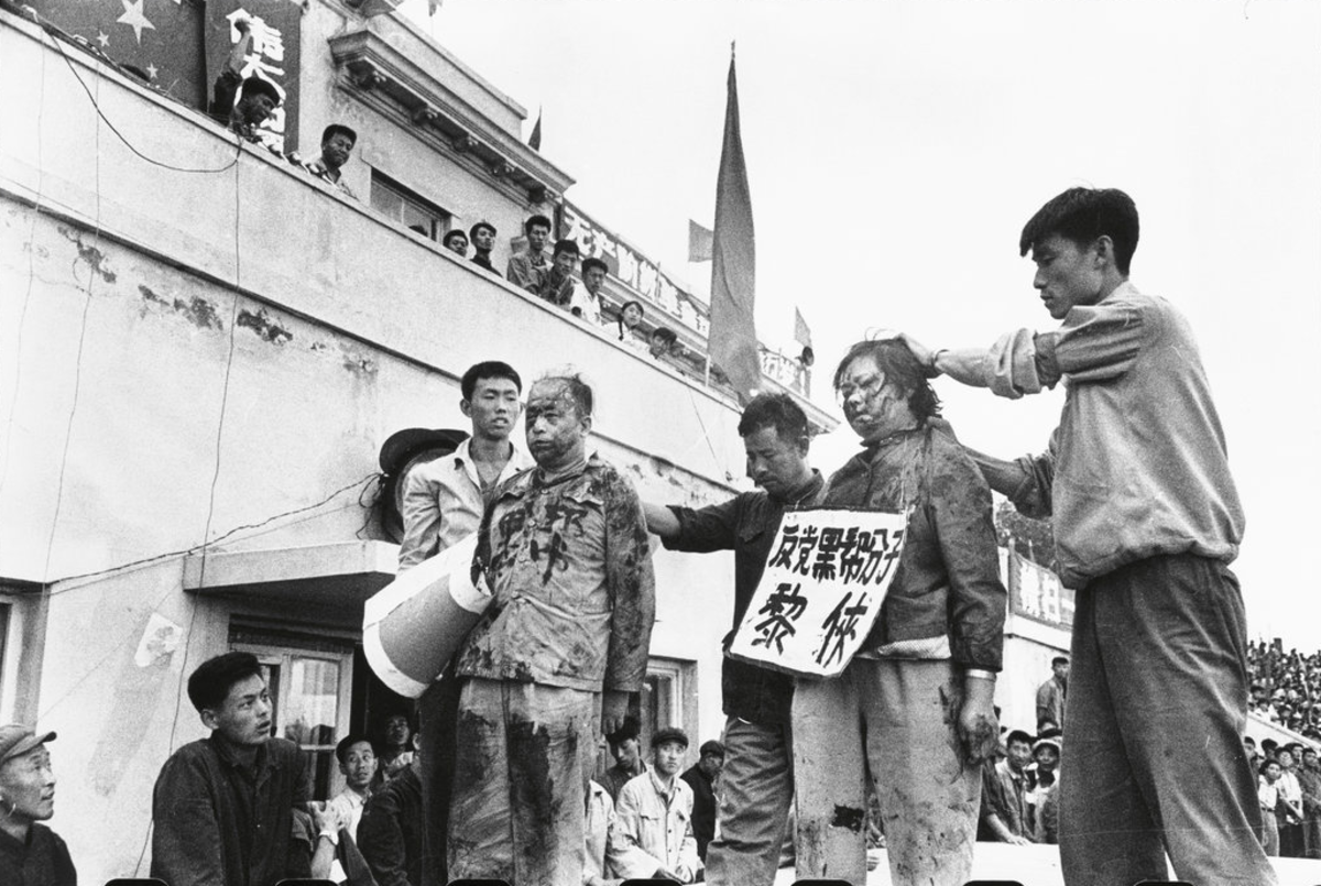 red guards being led in a struggle session