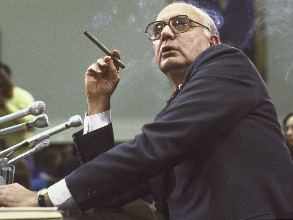 """Paul Volcker, the Fed Chairman credited with raising rates and """"breaking the back of inflation"""" in the 1970s. Source: Vox"""