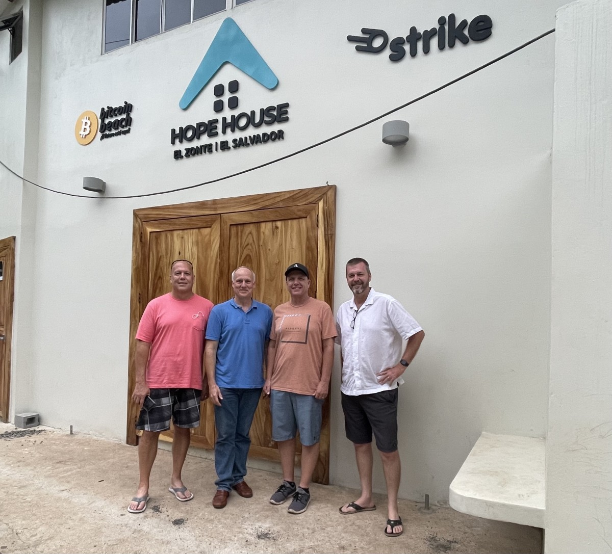 From left to right: Michael Bata (COO of ECI Development), Mike Cobb (CEO of ECI Development), Mike Peterson (founder and visionary behind Bitcoin Beach), Patrick Hiebert (CDO of ECI Development)